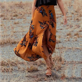 Fashion Design Bohemian Floral Long Maxi Skirt Red