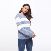 Blue Casual White Striped Knitted Sweater Jumpers
