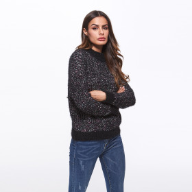 Black Casual High Neck Long Sleeve Knitted Sweater Pullovers