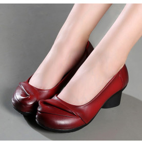 Genuine Leather Women Med Heel Shoes Spring Autumn Fashion Comfortable Thick Heel Shoes Shallow Soft Female Pumps