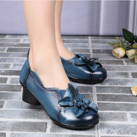 Genuine Leather Women High Heel Shoes Spring Autumn Fashion Flower Soft Slip-on Leather Shoes Round Toe Pumps