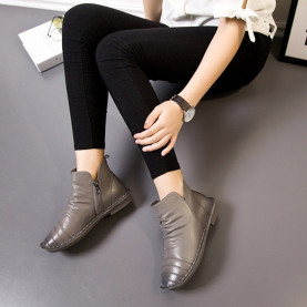 Women Boots Spring Autumn Fashion Sewing Pleated Zipper Ankle Boots Soft Genuine Leather Casual Flat Shoes