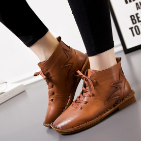 Fashion Round Toe Women Shoes Autumn Soft Genuine Leather Ankle Boots Lace Up Casual Female Flat Short Boots