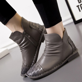 Women Ankle Boots Fashion Woven Pleated Zipper Casual Low Heel Flat Shoes Genuine Leather Boots