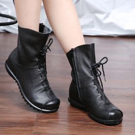Plus Size Genuine Leather Women Boots 2017 Spring Autumn Fashion Pleated Ankle Boots Warm Soft Outdoor Casual Flat Shoes
