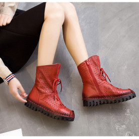 Summer Sandals Boots Autumn Fashion Genuine Leather Hollow Breathable Lace up Zipper Flat Ankle Boots