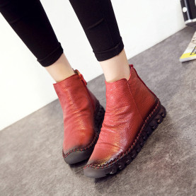 Warm Short Plush Women Ankle Boots Fashion Genuine Leather Pleated Zipper Short Boots Femal Sewing Flat Shoes