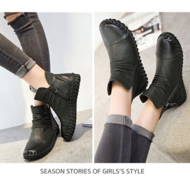 Round Toe Sewing Shoes Spring Autumn Genuine Leather Pleated Women Ankle Boots Soft Short Boots Femal Flat shoes