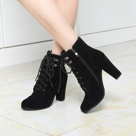 Plus Size Super High Heel Pumps Fashion Faux Suede Suqare Heel Ankle Boots Winter Warm Short Plush Women Martin Boots