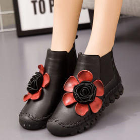 Fashion Big Flower Women Ankle Boots Winter Warm Genuine Leather Boots Soft Sewing Flat Shoes Casual Short Boots