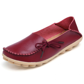 Plus Size Genuine Leather Women Shoes Spring  Fashion Soft Lace-up Casual Flat Shoes Peas Non-Slip Outdoor Shoes