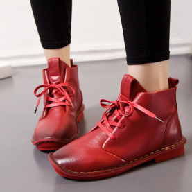 High-Top Shoes Spring Fashion Soft Genuine Leather Women Boots Lace Up Flat Ankle Boots Casual Shoes