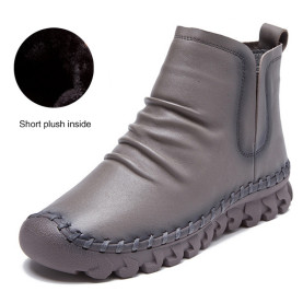 Comfortable Soft Genuine Leather Winter Boots 2017 Fashion Sewing Women Ankle Boots Casual Flat Shoes Female Snow Boots