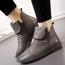Fashion Sewing Women Boots Autumn Genuine Leather Casual High Top Shoes Soft Pleated Women Flat Ankle Boots