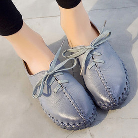 Sewing Shoes Spring Autumn Genuine Leather Lace Up Casual Women Shoes Cross Tied Low Shoes Outdoor Non-Slip Flat Shoes