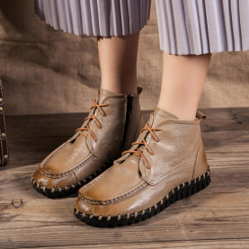 Genuine Leather Boots Spring Autumn Fashion Sewing Ankle Boots Height Increasing Women Flat Shoes