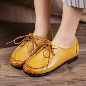 Women Genuine Leather Shoes Spring Autumn Fashion Breathable Soft Lace-up Casual Women Flat Shoes