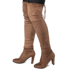 Women Faux Suede Thigh High Stretch Boots Flock Sexy Overknee High Heels Shoe