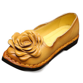 Genuine Leather Big Flower Decoration Women Casual Flat Shoes Spring Pointed Toe Sewing Shoes Plus Size