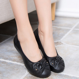 10 Colors Breathable Soft Women Flats Genuine Leather Shoes Fashion Flat Casual Shoes Hollow Bowknot  Ladies Peas Shoes