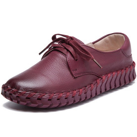 Genuine Leather Sewing Shoes Casual Lace Up Women Flats Outdoor Casual Flat Shoes Soft Breathable Leather Shoes
