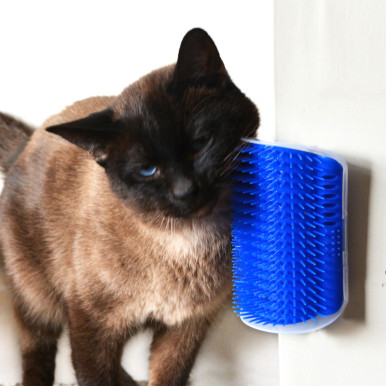OneBling Self-Grooming Cat Wall Brush Pet Massage Comb Toy with Catnip Pouch Hair Removal Brush Tool Pet Supplies