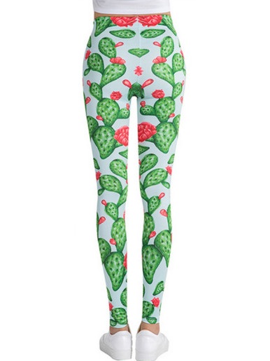 Flowering Cactus Print Pattern Women Stretch Leggings