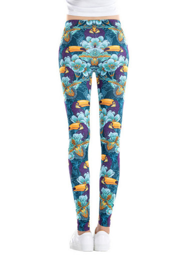 Cartoon Woodpecker Flowers Printed Pattern Women Elastic Waist Stretch Leggings