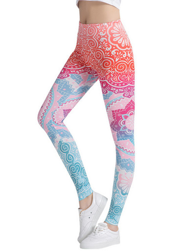 Printed Yoga Leggings Elastic Waist