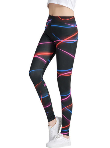 Light Lines Printed Pattern High Waist Elastic Slim Leggings Women Stretch Leggings Black