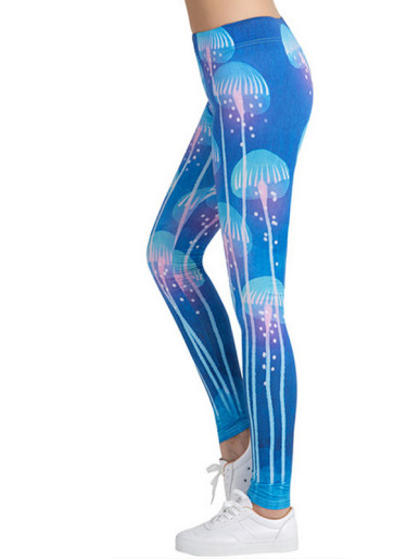 Jellyfish Printed Pattern Stretch Tight Leggings Yoga Pants for Girls Women