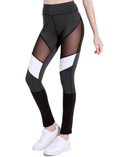 Women Fitness Leggings Color Block Mesh Patchwork Workout Leggings