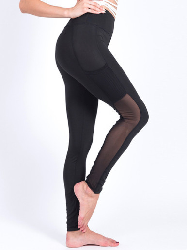 Breathable Mesh Splicing Leggings Fitness Women Elastic Leggings with Mesh Phone Pocket