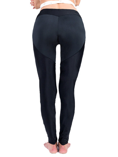Heart Pattern Leggings Workout Fitness Clothing Elastic Women Black Leggings