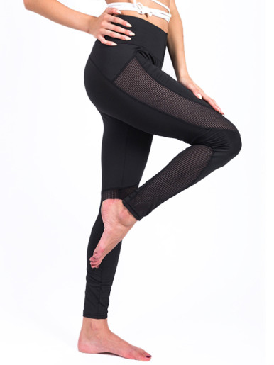 Mesh Patchwork Breathable Fitness Yoga Leggings High Waist Stretch Leggings for Women Girls