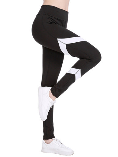 Black White Hit Color Women Leggings Fitness Exercise High Waist Stretch Leggings