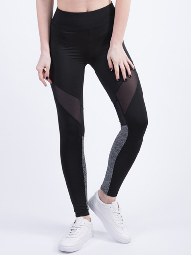 Mesh Insert Color Block Breathable Women Casual Legggings Fitness Stretch Leggings