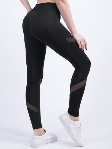 Black Breathable Women Fitness Leggings Patchwork Mesh Elastic Wasit Ankle-Length Leggings