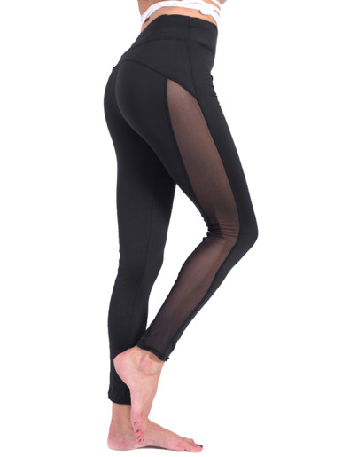 Right Side Mesh Patchwork Breathable Women Fitness Leggings