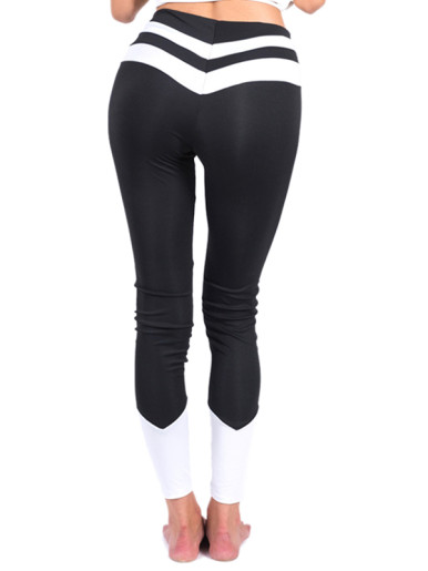 White Patchwork High Waist Women Leggings Workout Fitness Stretch Leggings