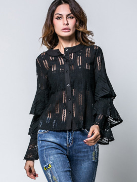 Sexy Perspective Lace Blouse Lotus Leaf Sleeve Slim Fit Women Shirts