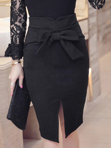 OneBling Plus Size High Waist Pencil Skirt with Split Front and Bow Detail