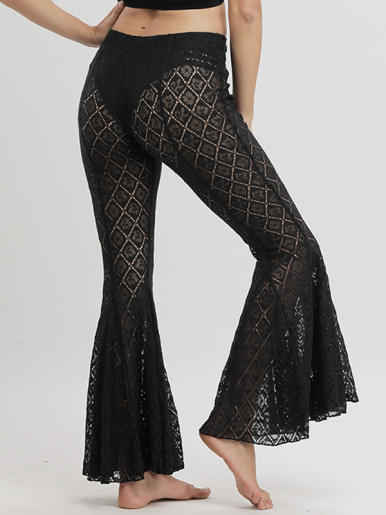 Crochet Lace Black Flared Pants