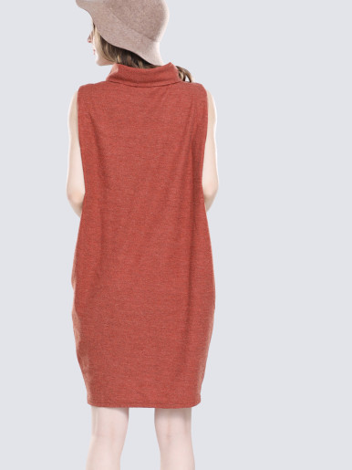OneBling Solid Turtleneck Tank Dress with Side-Pocket