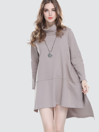 OneBling Cowl Neck Stepped Hem Loose Dress