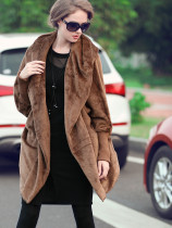 OneBling Dual Pockets Dolman Sleeve Hooded Plush Coats