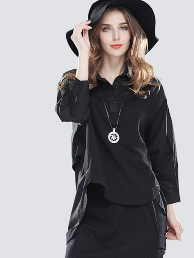 OneBling Contrast Yoke Raglan Sleeve Button Detail High Low Blouses