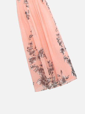 Floral Print Halter Pleated Maxi Dress With Belt