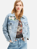 Floral Embroidery Frayed Distressed Denim Jacket
