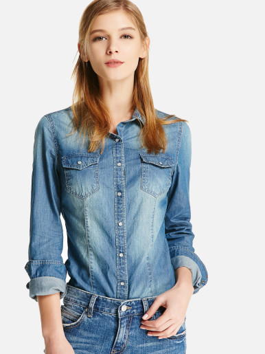 OneBling Chambray Button-Front Shirt